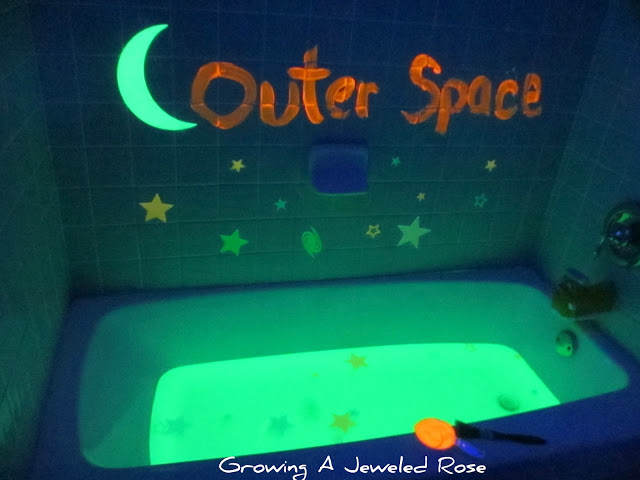 100 Things You Can Buy From the Dollar Tree and Use in Play - Perfect Nanny Match - Outer_Space_themed_glowing_bath