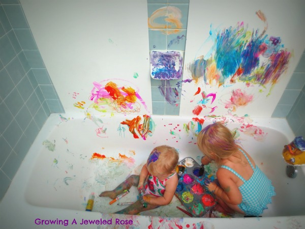 100 Things You Can Buy From the Dollar Tree and Use in Play - Perfect Nanny Match - messy_play_in_the_sink_and_bath_3