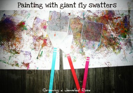 100 Things You Can Buy From the Dollar Tree and Use in Play - Perfect Nanny Match - painting_with_giant_fly_swatters